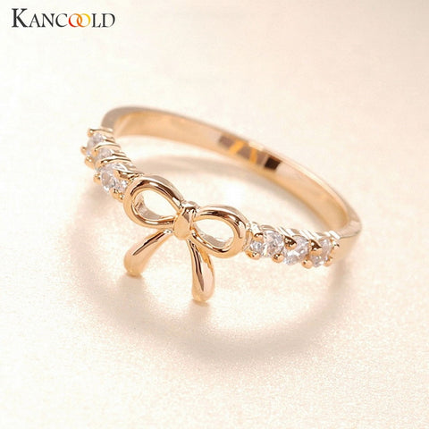 New Arrival Flawless Rings Jewelry Crystal Bow Ring Butterfly