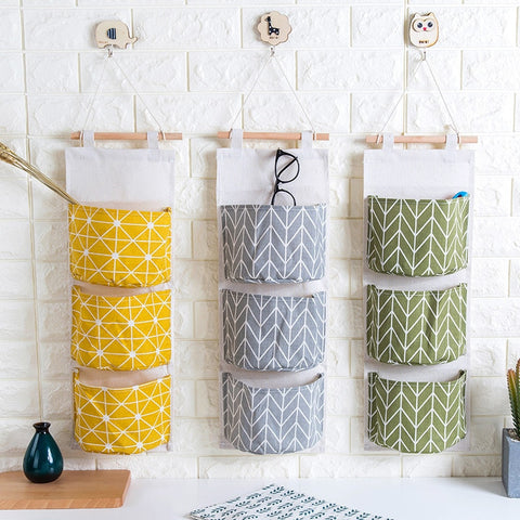 2215 Cotton Linen Waterproof Hanging Storage Bag
