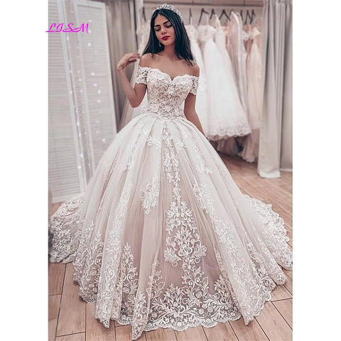 Lace Ball Gown Wedding Dresses Off the Shoulder