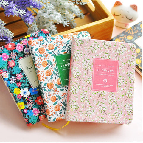 New Arrival Cute Pu Leather Floral Flower Schedule Book