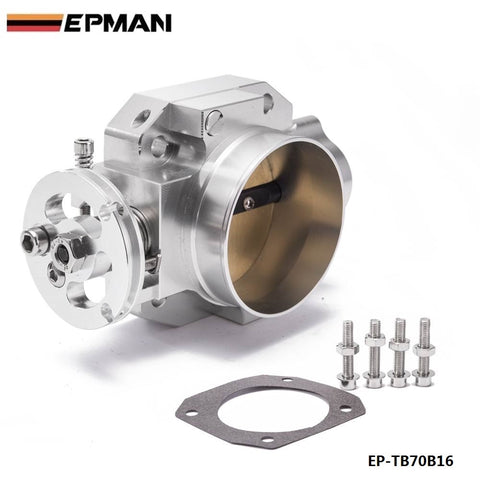 Aluminum Silver Intake Manifold 70mm Throttle Body For Honda B16 B18 D16 F22 B20 D/B/H/F EG EK H22 EP-TB70B16