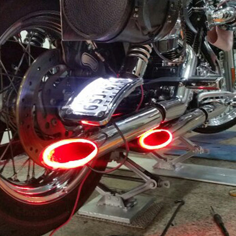1Set Motorcycle LED Light Red Motorbike Exhaust Pipe Lamp