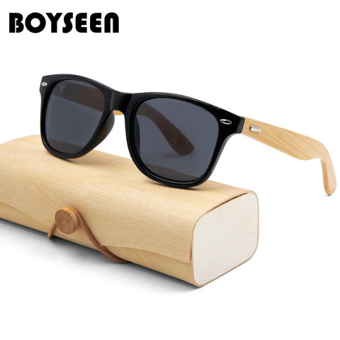 BOYSEEN Retro Wood Sunglasses Men Bamboo