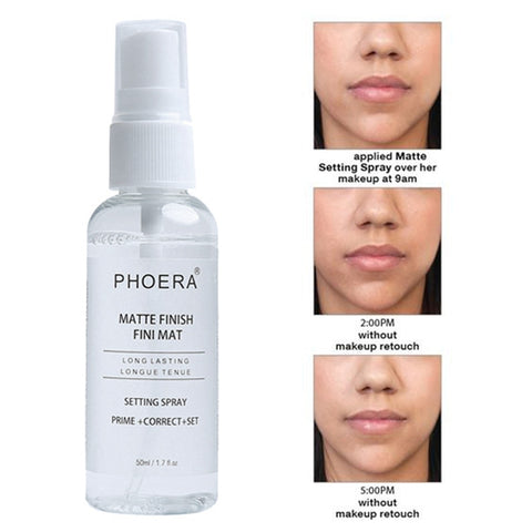 PHOERA 50ML Matte Finish Bottle Setting Spray Makeup Natural Setting Spray Oil-control Long Lasting Fix Foundation Spray TSLM1