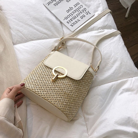 Small Straw Bucket Bags For Women 2019 Summer