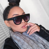 Flat Top Oversized Women Sunglasses Retro