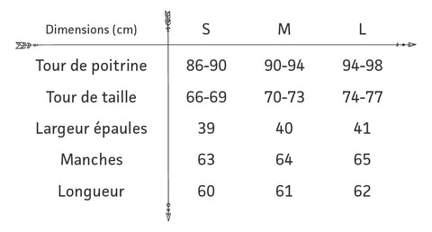 Guide des tailles blouse boheme blanche brodee
