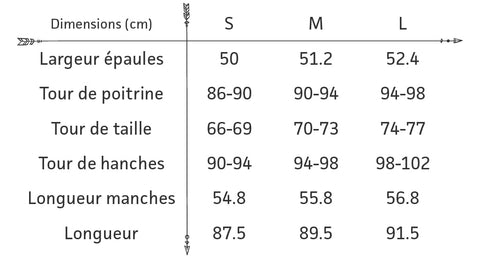 Guide des tailles robe chemise automne