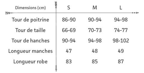 guide des tailles robe pull boheme tricot