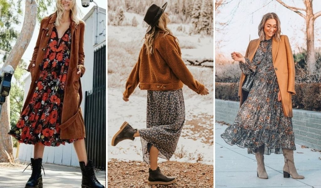wear a winter jacket or coat with your boho dress