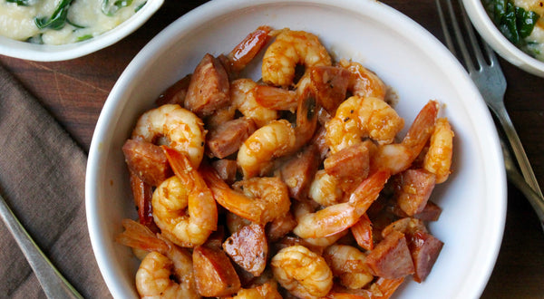 Spot Shrimp (Spot Prawn) and Sausage Sauté Recipe