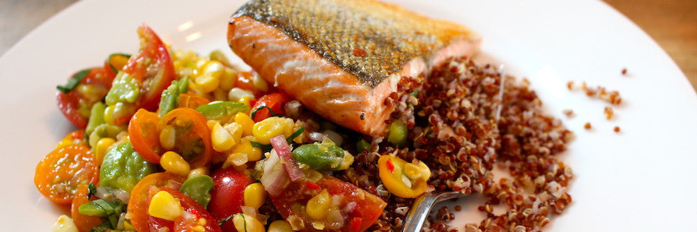 Seared Coho Salmon with a Fresh Succotash Salad Recipe