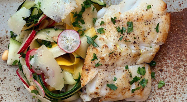 Pan Seared Black Rockfish (Black Bass) with Shaved Zucchini Salad Recipe