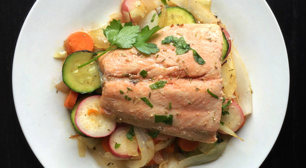 Coho Salmon with Herbed Vegetables Recipe
