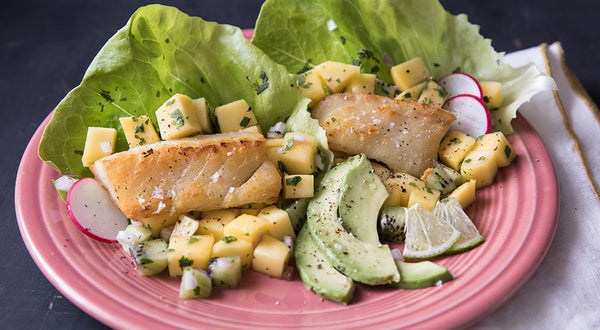 Pacific Cod Fish Taco Lettuce Wraps with Mango Kiwi Salsa Recipe