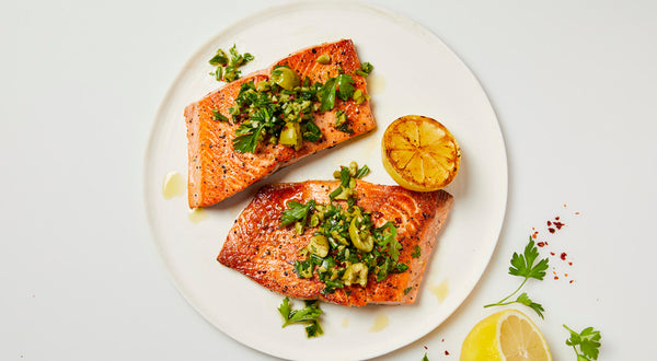 Seared Salmon with Green Olive Salsa Verde Recipe