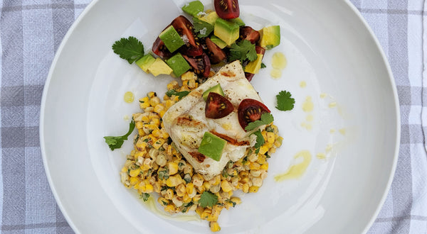 Grilled Halibut with Elotes Salad (Esquites) Recipe
