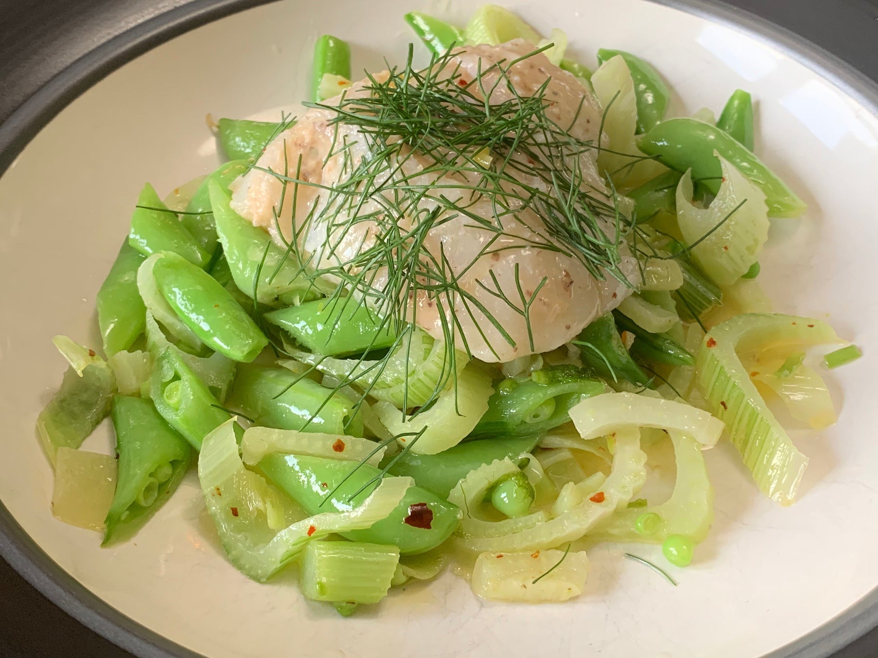 Lemon-Miso Lingcod with Butter Braised Fennel & Snap Peas Recipe
