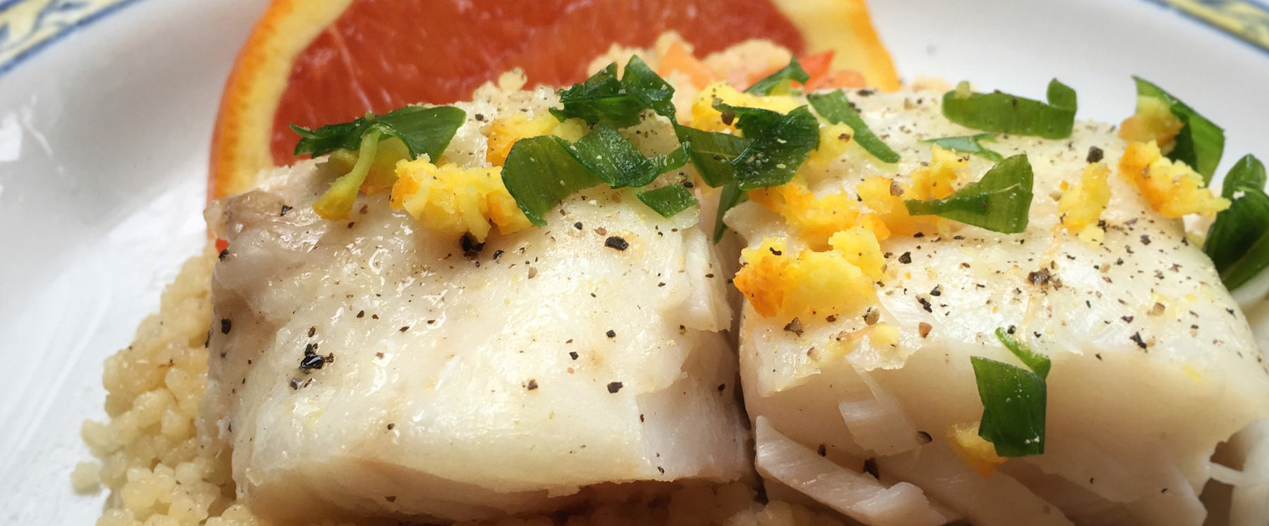 Lingcod in Parchment with Red Pepper, Orange, and Couscous Recipe