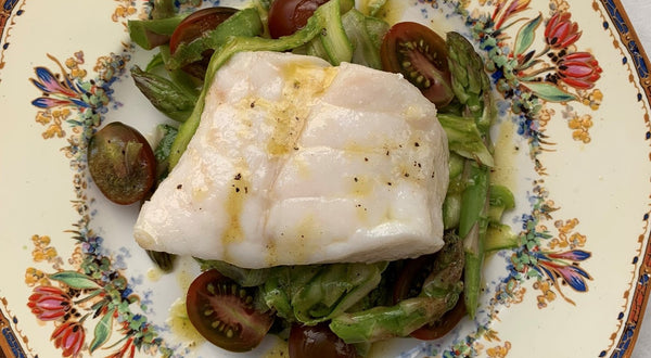 Olive Oil Poached Yelloweye with Shaved Asparagus Salad Recipe