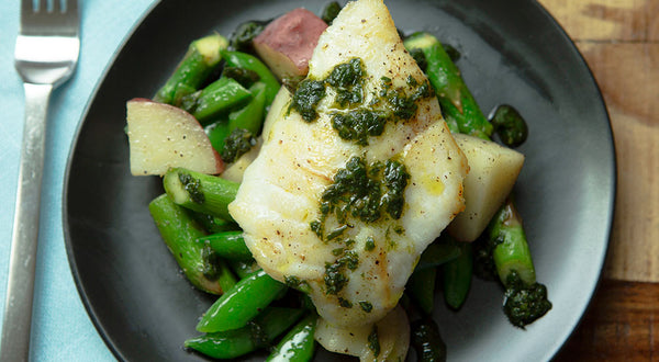 Pacific Cod with Sautéed Spring Veggies Recipe