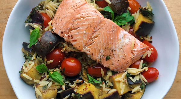 Pan Seared Salmon with Mediterranean Eggplant Orzo Recipe