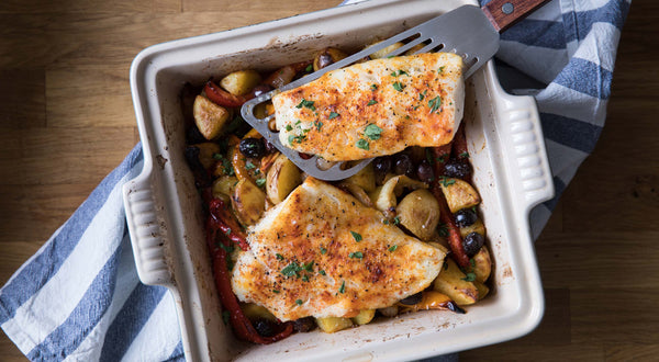 Basque Pacific Cod with Potatoes, Peppers & Olives Recipe