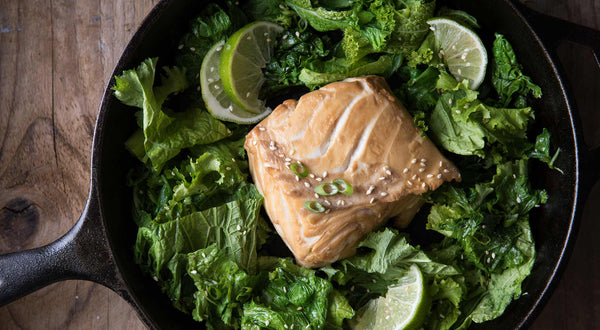 Soy Brined Halibut with Mustard Greens Recipe