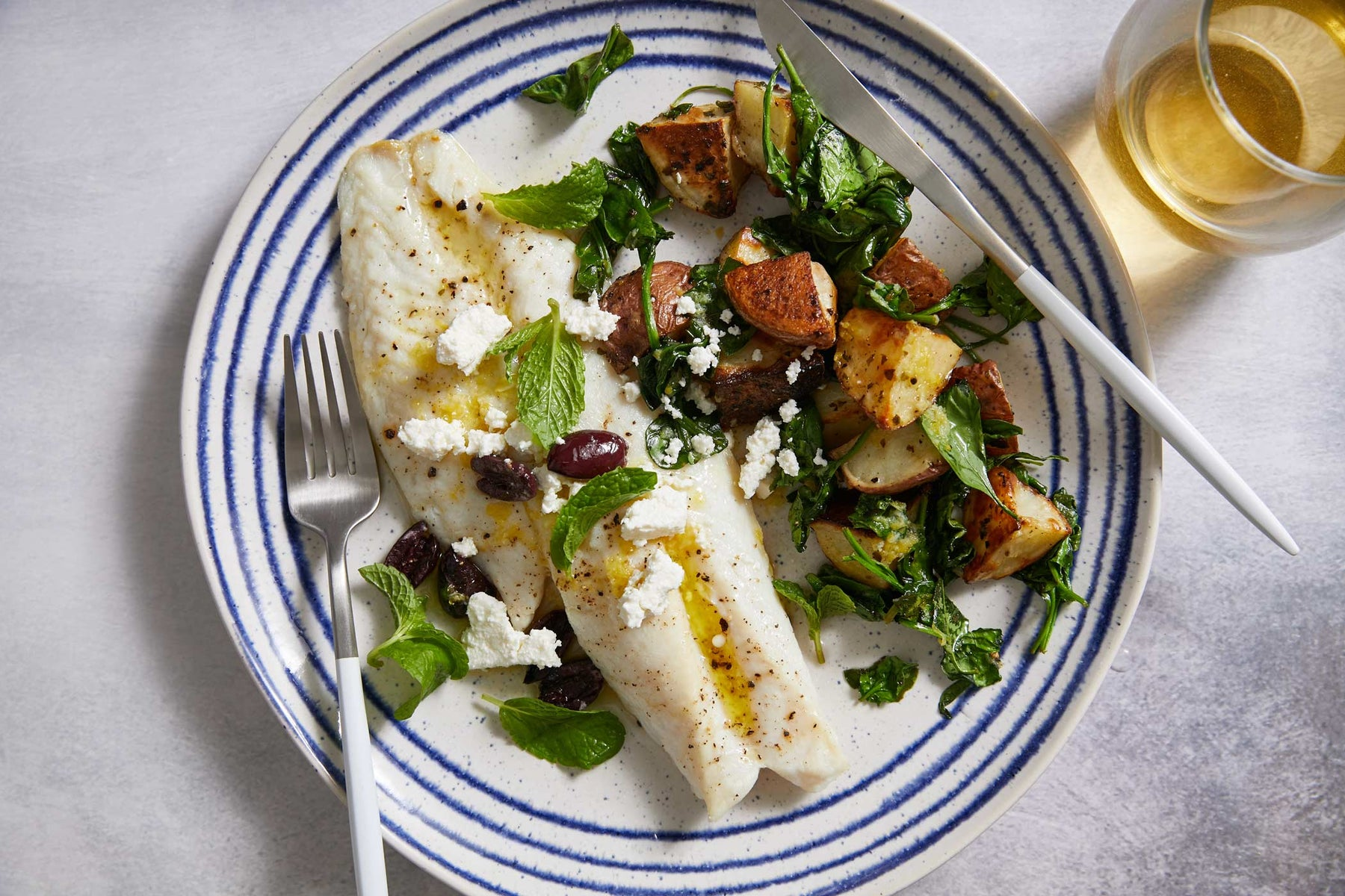 Broiled Rockfish with Lemony Potatoes, Olives, and Mint Recipe