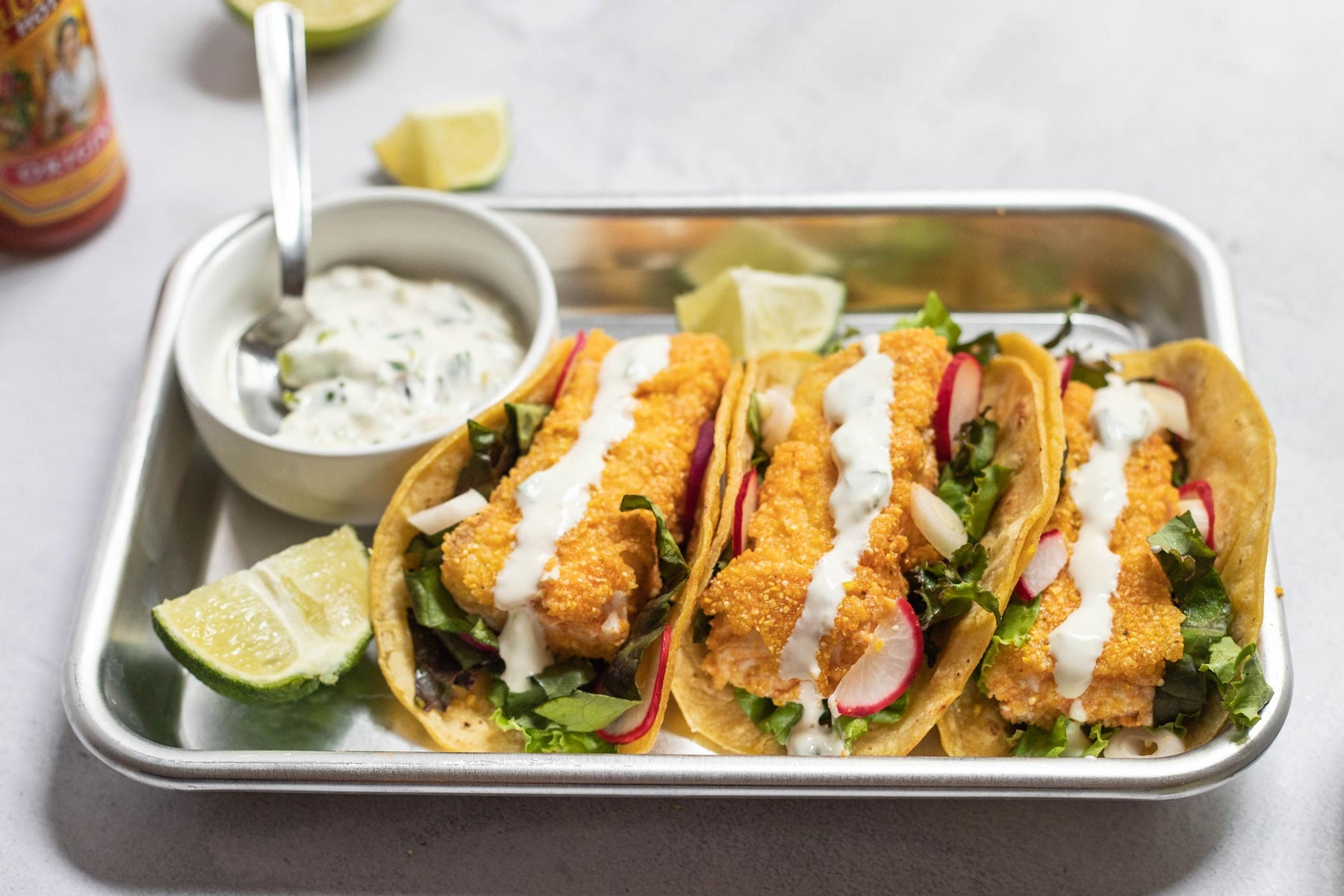 "Crusted Halibut Tacos with Charred Scallion Crema and ""Pickled"" Onions and Radishes Recipe"