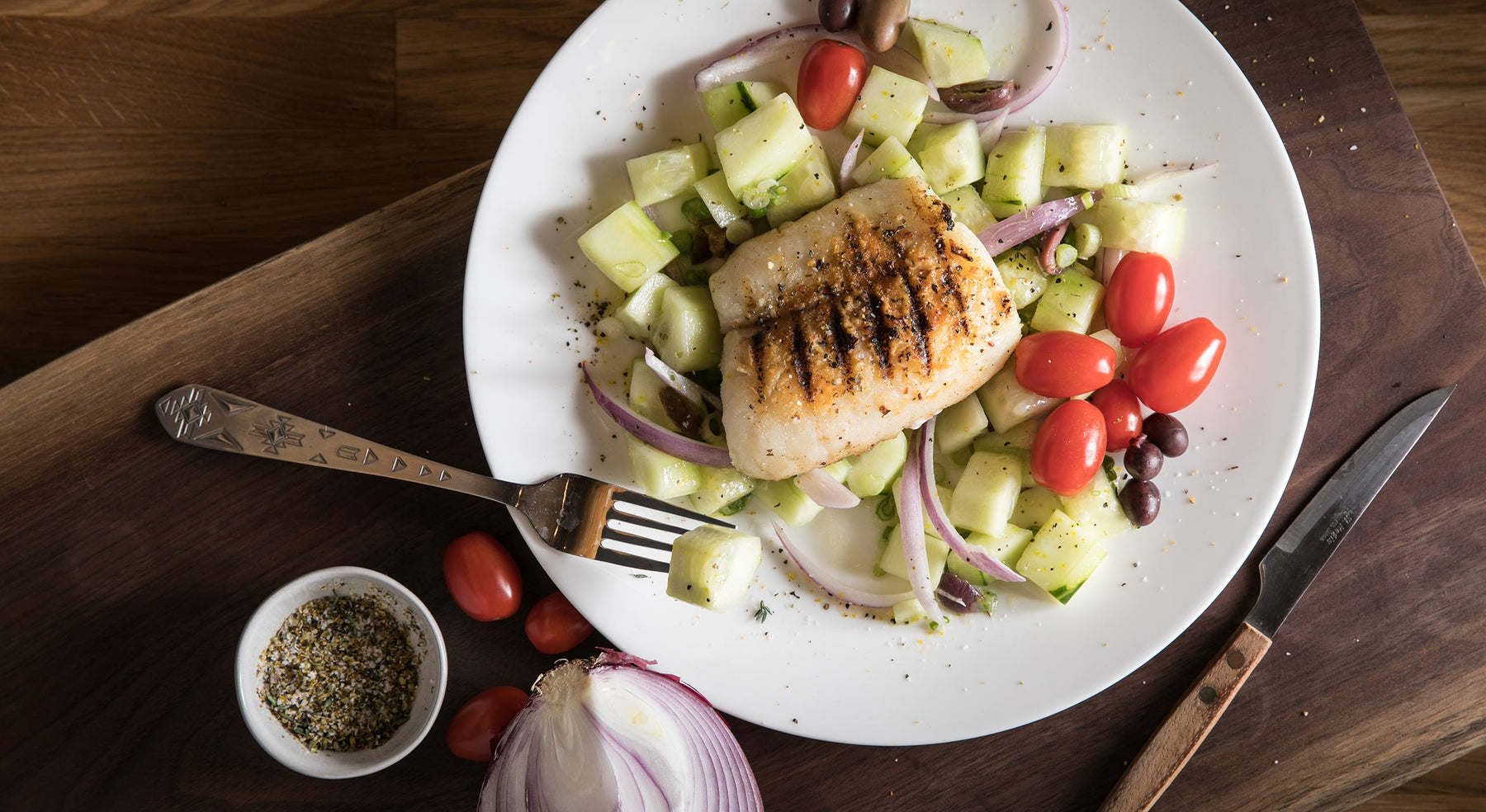 Greek Grilled Pacific Cod with Cucumber Salad Recipe