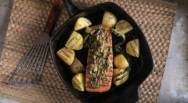 Slow Grilled King Salmon with Stone-Ground Mustard Recipe