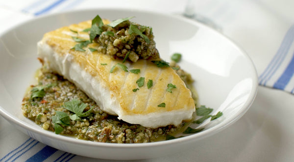 Halibut with Almond Anchoïade Recipe