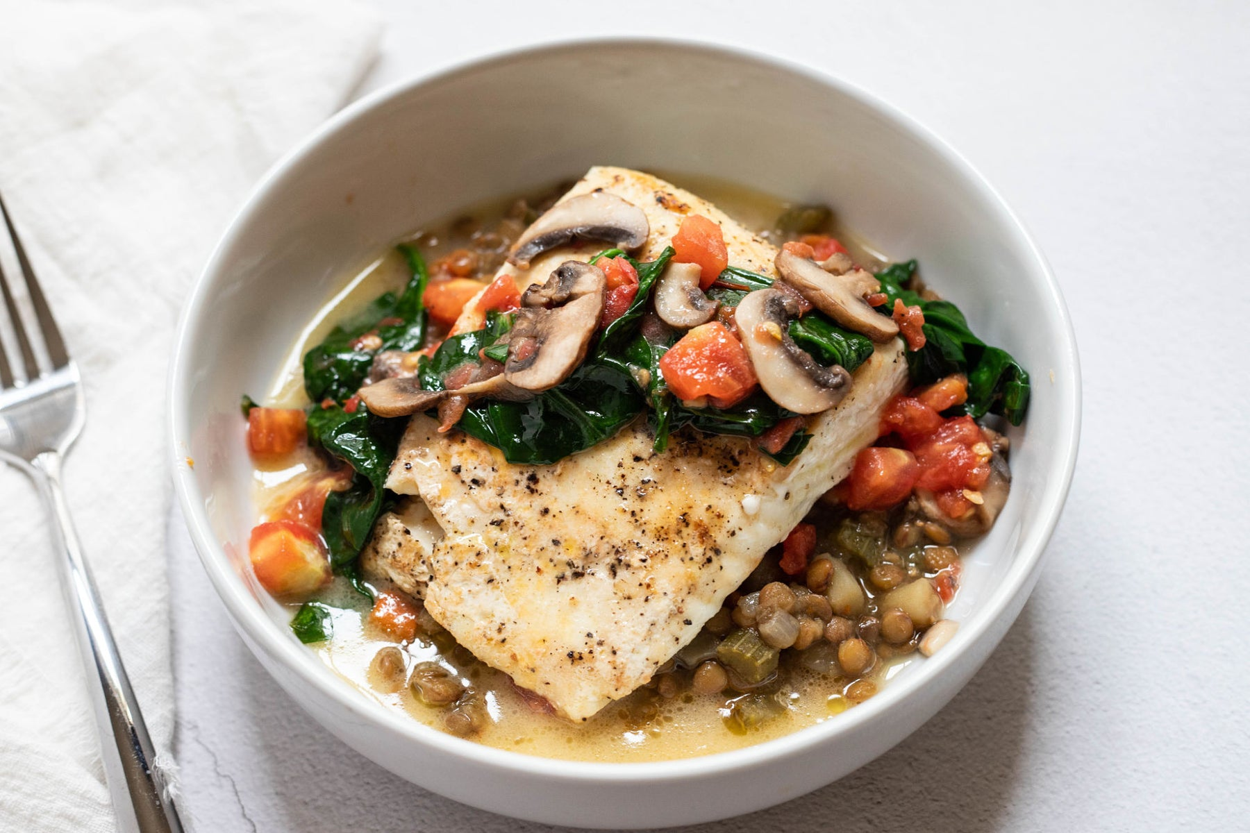 Halibut with Braised Lentils and Lemon Butter Sauce Recipe