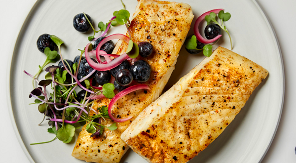 Halibut with Pickled Blueberries Recipe