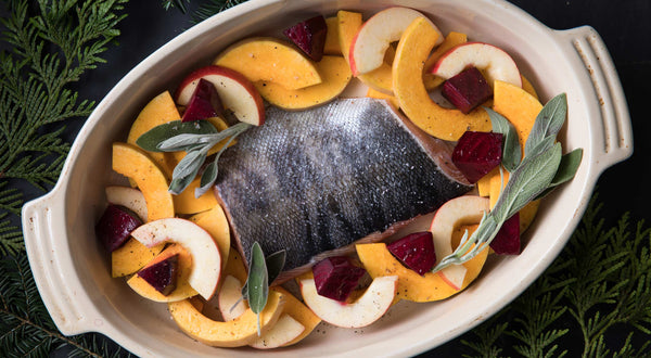 Keta Salmon with Fall Vegetables, Maple Butter, & Sage Recipe