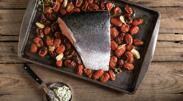 King Salmon with Oven-Dried Tomatoes & Chive Butter Recipe