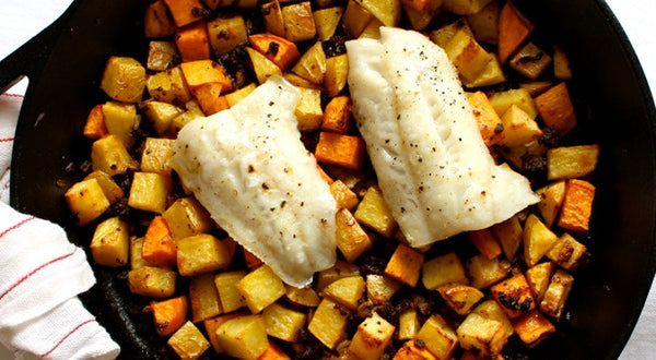 Lingcod with Chorizo Potato Hash Recipe