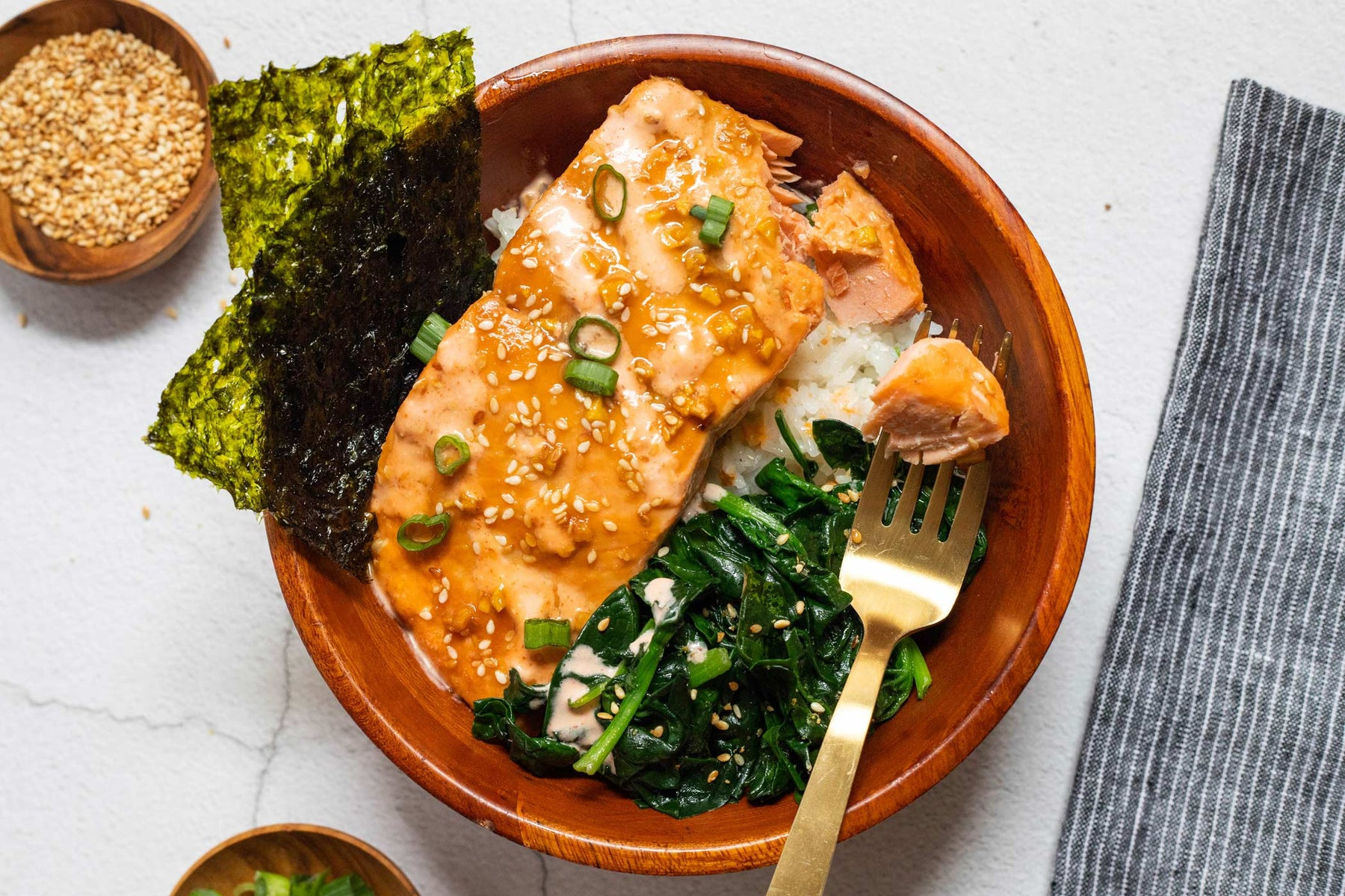 Miso-Ginger Glazed Salmon Rice Bowl Recipe