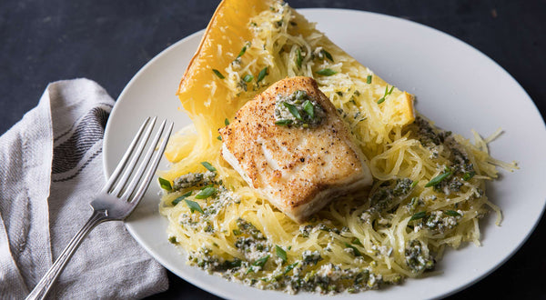 Nene's Halibut with Garden Pesto Recipe