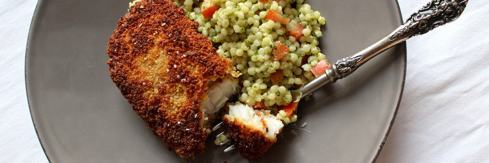 Panko-Crusted Rockfish with Israeli Couscous Salad Recipe