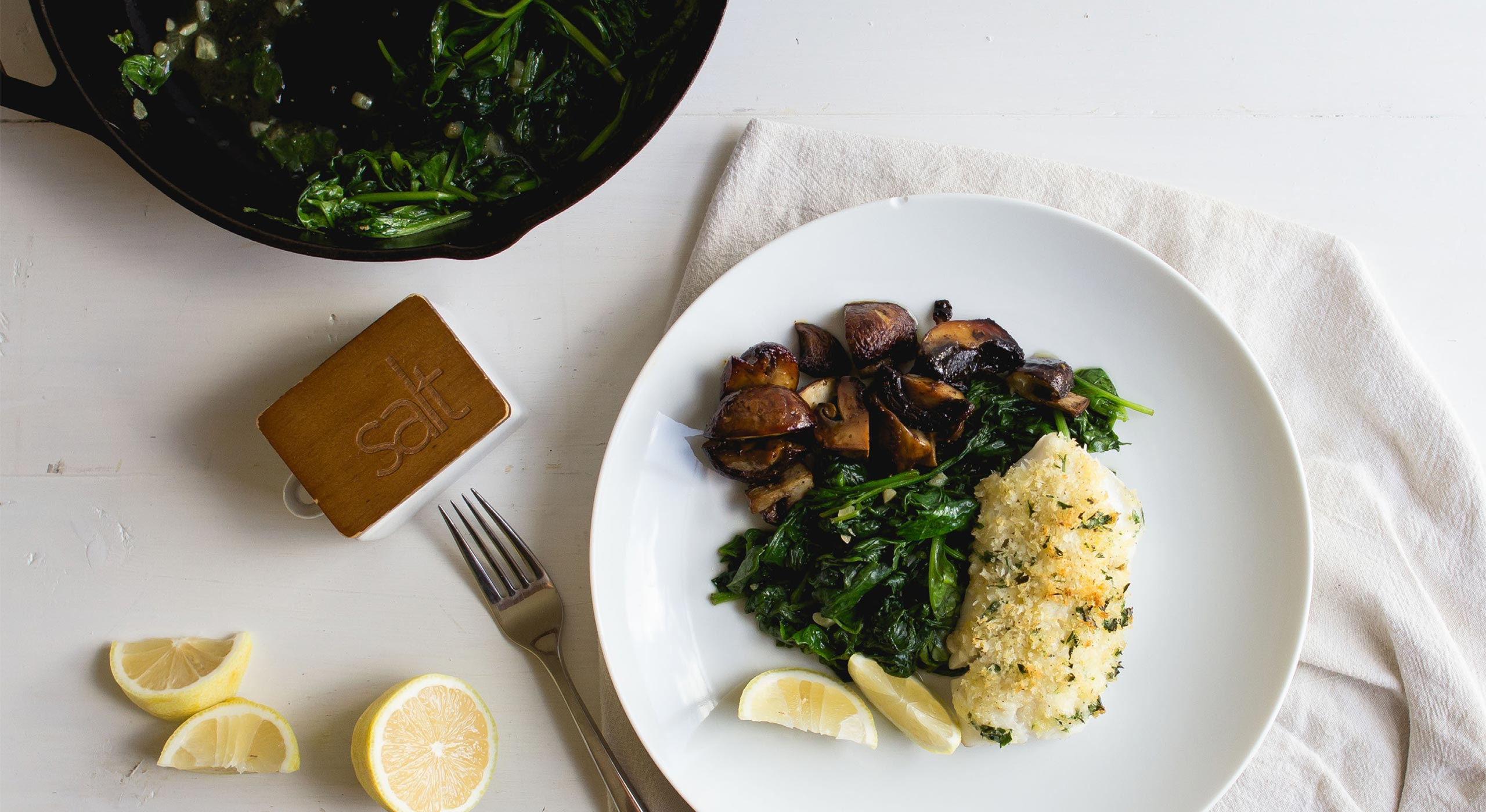 Panko Crusted Pacific Cod With Spinach Mushrooms Recipe Sitka Salmon Shares
