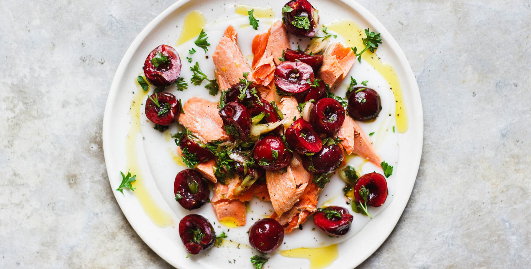 Poached Salmon with Savory Cherry Salad Recipe
