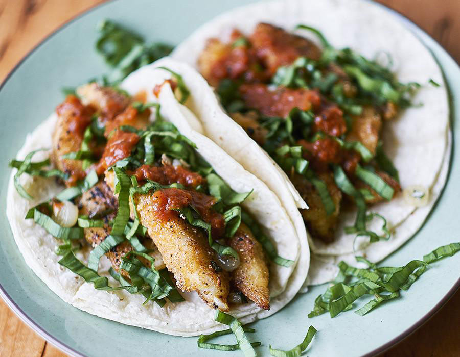 Crispy Springtime Rockfish Tacos with Ramps Recipe
