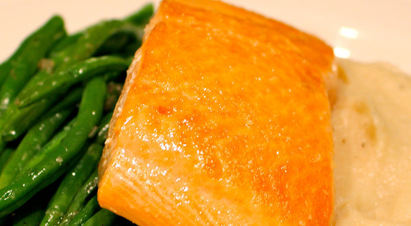Slow-Roasted King Salmon with Cauliflower Purée and Green Beans Recipe