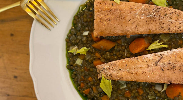 Sauteed Salmon with French Lentils, Celery Leaves and Herb Infused Olive Oil Recipe