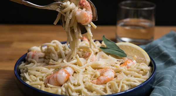 Linguine with Spot Shrimp (Spot Prawn) and Sage Cream Sauce Recipe