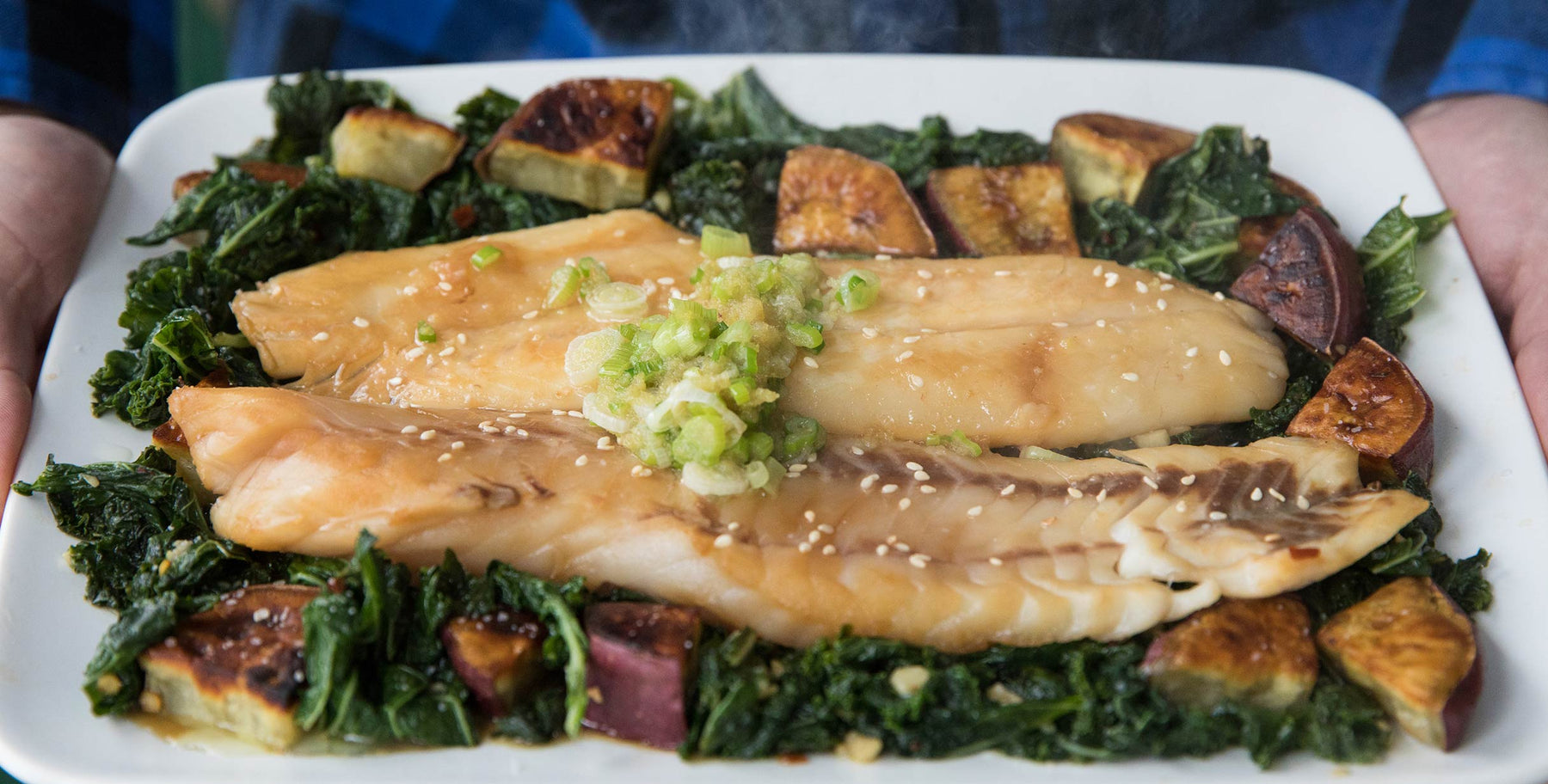 Steamed Black Rockfish (Black Bass) with Scallions and Ginger Recipe