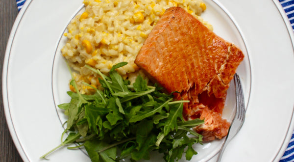 Seared King Salmon with Corn Risotto Recipe