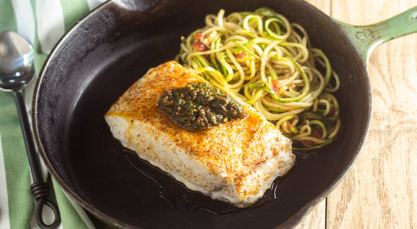 Peter's Black Rockfish (Black Bass) with Sun-dried Tomato Pesto Recipe